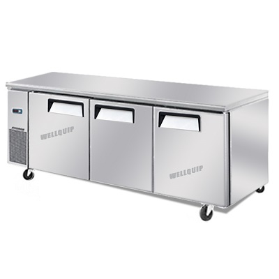 Heavy Duty Kitchen Fridge with 3 Stainless Steel Doors and Swivel Wheels: Quipwell-WA1888